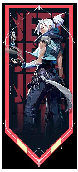 Jett player card · Valorant Jett